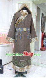 Ancient Chinese Mongolian Hero Costumes and Hat Complete Set for Men
