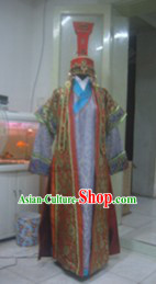 Ancient Chinese Mongolian Princess Long Robe and Hat Complete Set for Women