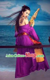 Ancient Chinese Purple Sexy Costumes for Women