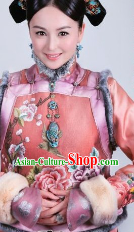 Qing Dynasty Chinese Imperial Palace Royal Clothing and Accessories Complete Set for Princess