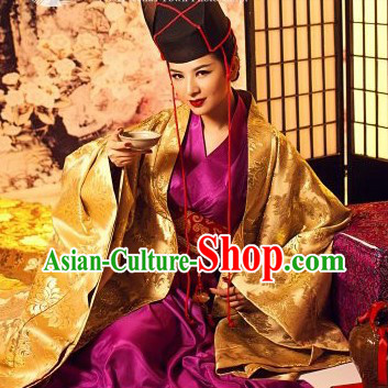 Ancient Chinese Unbeaten Kung Fu Master Dong Fang Bu Bai Costumes and Hat Complete Set