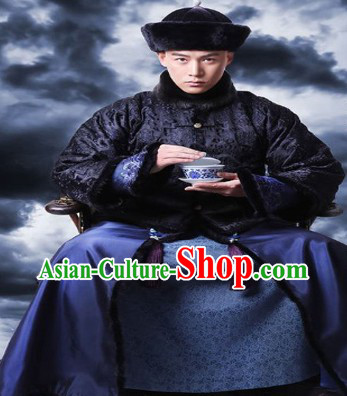 Qing Dynasty Imperial Family Handsome Costumes and Hat for Men