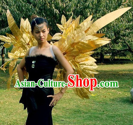 Handmade Victoria Secret Style Golden Long Feather Angel Wings Stage Performance Props