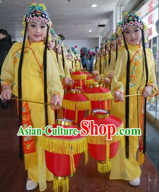 Traditional Chinese Stage Performance Opera Costume and Headpiece for Kids
