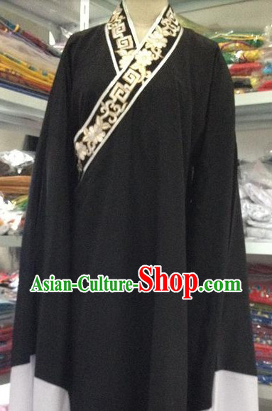 Traditional Chinese Black Long Robe Xiao Sheng Costumes