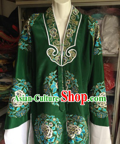 Green Embroidered Flower Opera Costumes