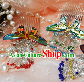 Ancient Chinese Female Butterfly Hair Accessories and Earrings