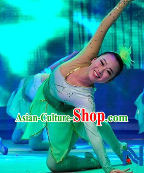 Chinese Classic Bamboo Green Dancing Costumes and Headwear for Women
