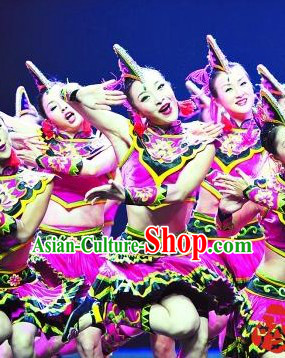 Chinese Folk Ethnic Dance Costumes and Headwear for Women