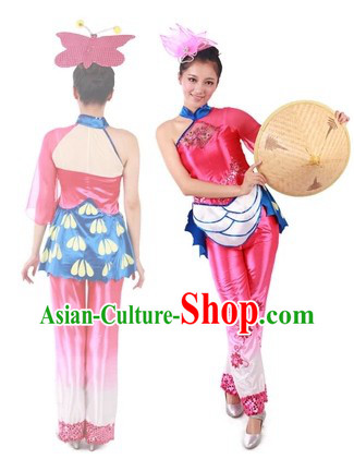 Traditional Recital Dance Costumes and Bamboo Hat for Professional Dancers