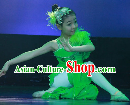 Green Folk Dance Costumes Complete Set for Kids