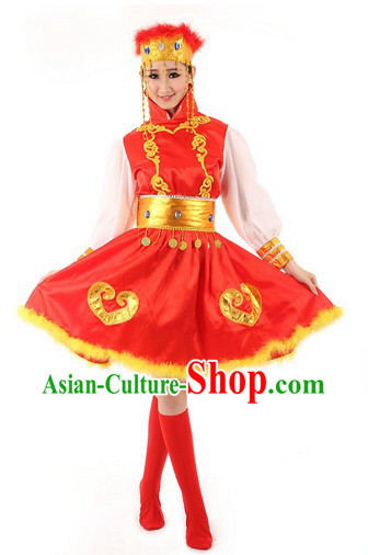 Red Folk Dance Costumes Complete Set for Kids