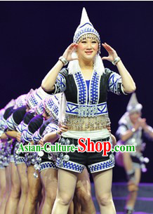 Female China Ethnic Dance Costumes and Hat