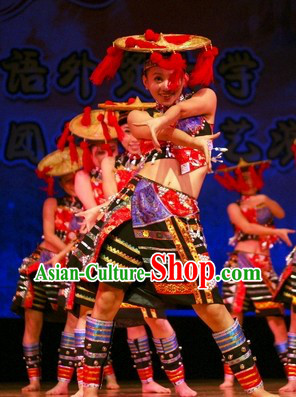 Huayao Dai Ethnic Dance Costumes and Hat Complete Set
