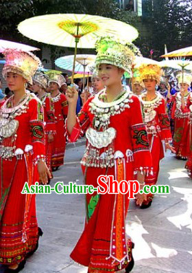 Traditional Chinese Miao Ethnic Costumes and Silver Hat