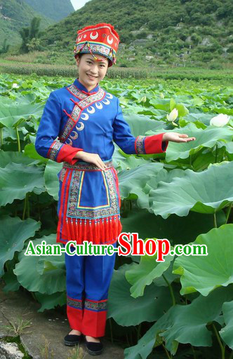 Chinese Maonan Ethnic Minority Clothes and Hat for Women