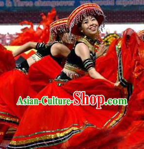 Chinese Achang Ethnic Minority Female Clothes and Hat