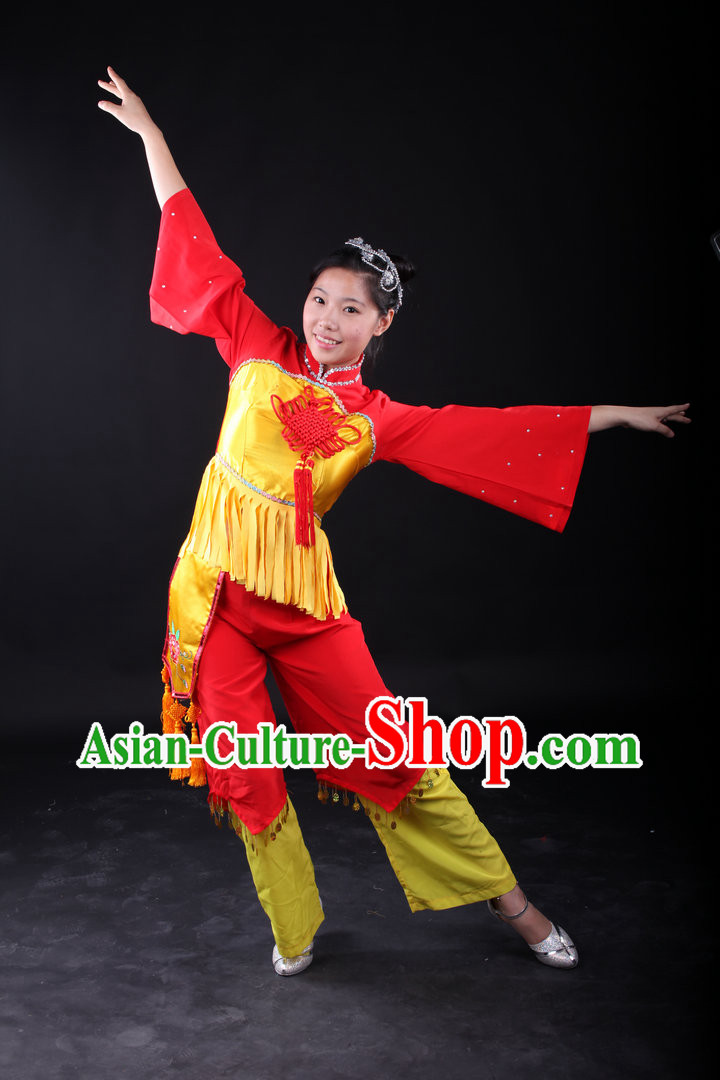 Traditional Chinese Knot Folk Dance Costumes and Headwear for Women