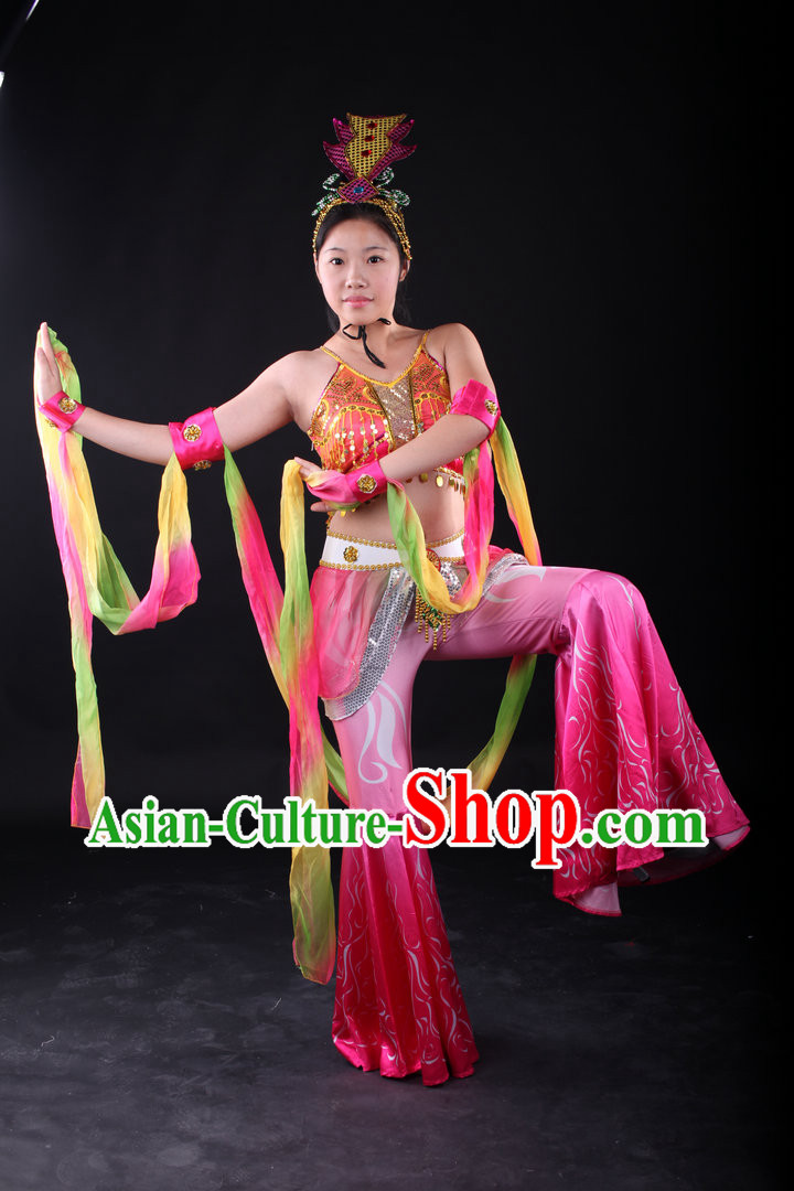 Traditional Chinese Fei Tian Dance Costumes and Headwear Complete Set for Women