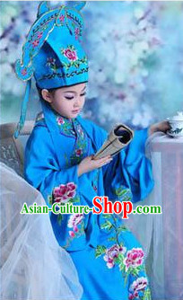 Tang Bohu Ancient Chinese School Student Long Robe and Hat for Children
