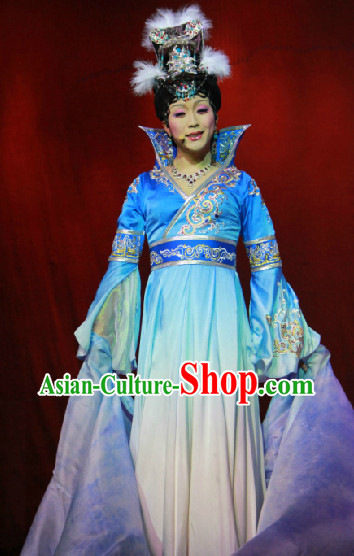 Blue High Collar Wide Sleeves Empress Long Trail Dresses and Hair Accessories Complete Set