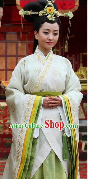 Ancient Chinese Imperial Female Clothes and Headdress Complete Set