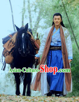 Ancient Chinese Swordsman Kung Fu Master Dresses Complete Set