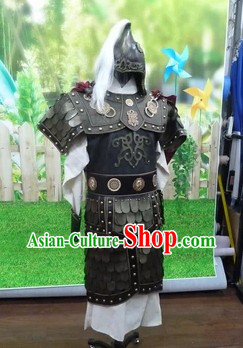 Ancient Chinese General Armor Outfits and Hat Complete Set for Men