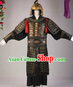 Ancient Chinese Three Kingdoms General Armor Outfit and Hat Complete Set for Men