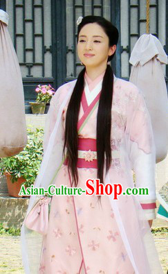 Ancient China Wife Clothing and Headdress Complete Set
