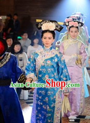 Qing Dynasty Ma Er Tai Ruo Xi Clothing and Headdress Complete Set