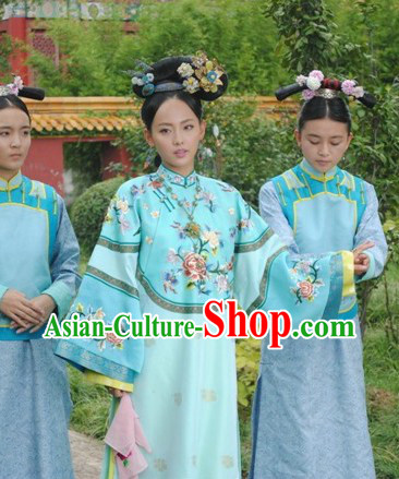 Qing Dynasty Imperial Princess Outfits and Headwear Complete Set