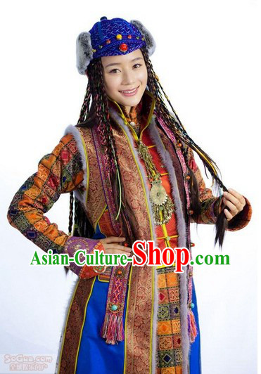 Traditional Tibetan Royal Female Outfits and Headwear Complete Set