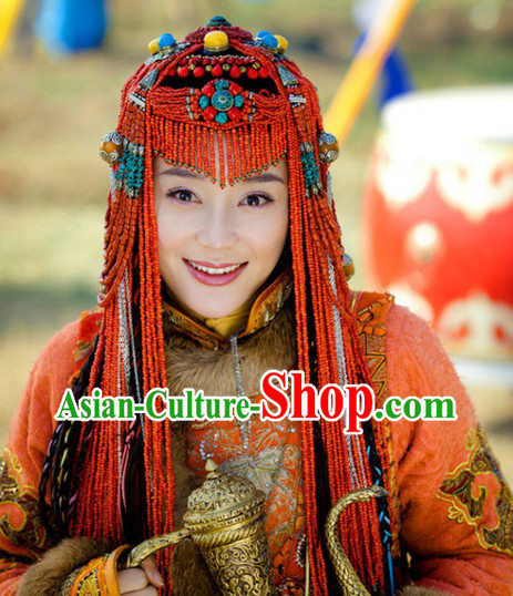 Traditional Tibetan Royal Female Dresses and Headwear Complete Set
