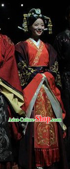 Chinese Han Clothing Wedding Dress and Hair Accessories Complete Set