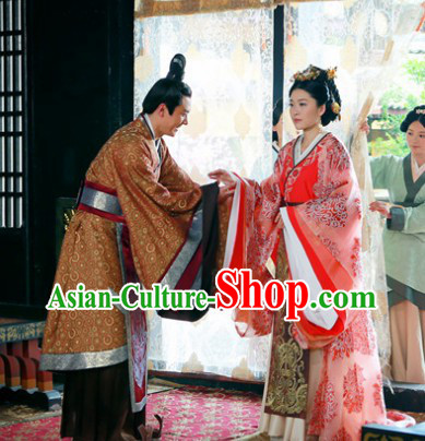 Chinese Han Clothing Husband and White Royal Family Dresses and Hair Accessories Complete Set