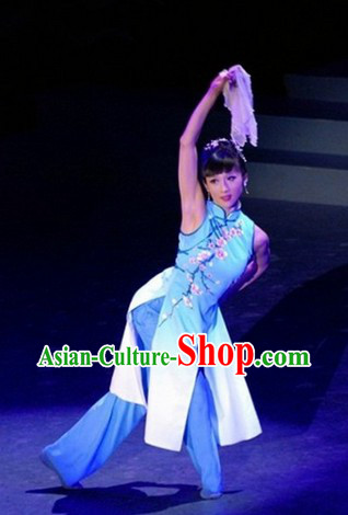 Traditional Chinese Blue Plum Blossom Classical Dancing Costumes Complete Set