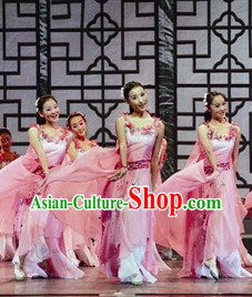 Jasmine Flower Pink Competition Dance Costumes and Headwear Complete Set
