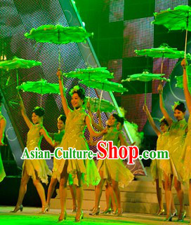 Green Jasmine Flower Dance Costume and Headdress Complete Set