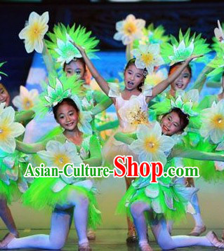White and Green Jasmine Flower Dancewear Costume and Headwear Complete Set for Kids