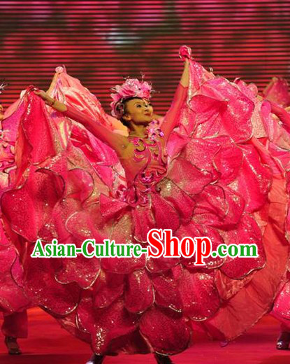 Flower Group Dance Costumes and Headdress Complete Set