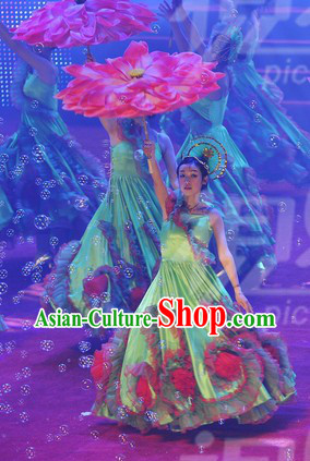 Flower Stage Opening Dance Costumes and Headdress Complete Set
