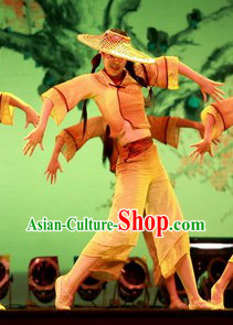 Bamboo Hat Dance Costume Dancewear and Hat Complete Set