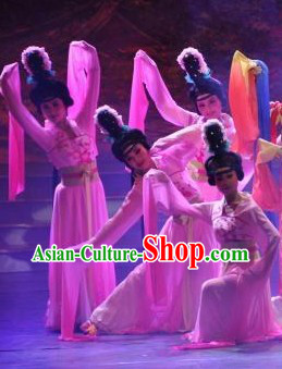 Tang Dynasty Style Long Sleeves Dancing Costumes and Headdress Complete Set