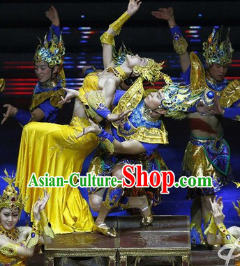 Chinese Ethnic Dancing Costumes and Headdress Complete Set