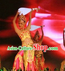 Chinese Lute Dancing Costumes and Headdress Complete Set