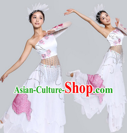 Chinese Classical Fan Dance Costumes and Headdress - Flowers in the Rain