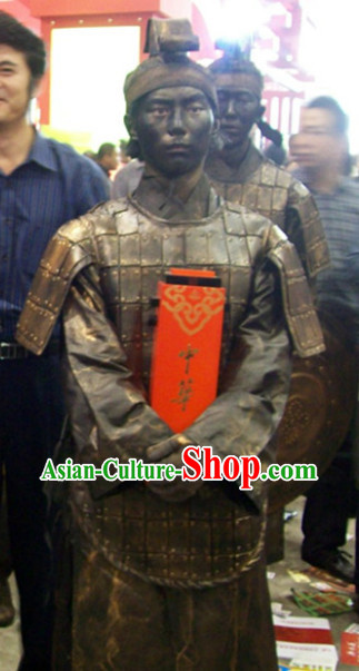 Action Art Living Sculpture Ancient Chinese Warrior Costumes Complete Set