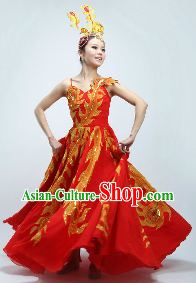 Big Expansion Skirt Golden Phoenix Tail Dance Costumes and Headwear
