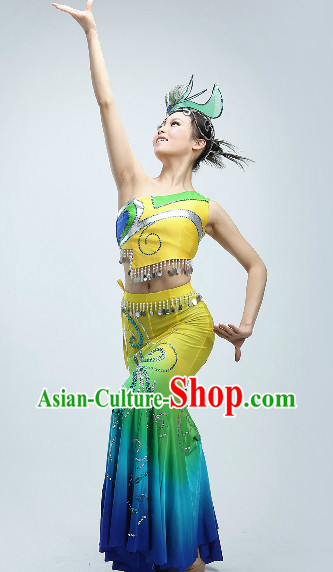 Peacock Dance Suit and Headwear for Women or Kids
